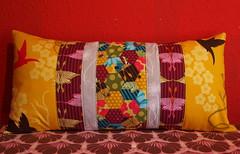 three lovely pillows (joontoons) Tags: handmade sewing pillow hexagon pincushion patchwork florafauna paperpiecing quitling englishpaperpiecing pattyyoung joontoons