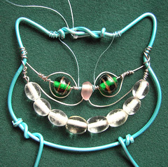 Turquoise Cheshire Cat - an ornament in beads and wire