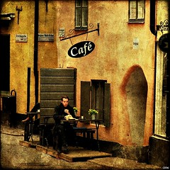 The Café on Österlånggatan (Milla's Place) Tags: texture café photoshop sweden stockholm gamlastan oldtown textured ghostworks memoriesbook österlånggatan distressedjewell skeletalmess bredgränd shadowhousecreations