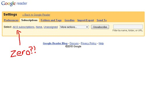 Google Reader... deleted my subscriptions!