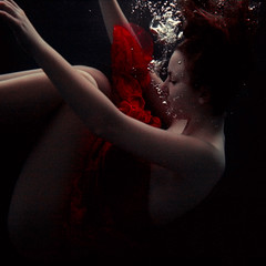 (Julia Eriksson) Tags: red water pool girl swimming dark underwater dress body air floating bubbles bodil p5