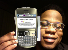 Me and a 3-D picture of a Nokia C3