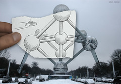 Pencil Vs Camera - 3 (Ben Heine) Tags: atomium pencilvscamera brussels belgium ufo ovni benheine monument drawing poem petersquinn atomiumbe andrwaterkeyn architecture surrealism 2dvs3d dimension time drawingvsphotography traditionalvsdigital number3 3 mywinners imaginationvsreality mixedmedia conceptual creative design sketch paper poetic simplicity croquis life finger series art cityscape urban improvisation bowl boules balls symbol nation unity minieurope capitaledeleurope expositionuniverselle winter snow neige hiver belgique symmetry