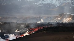 Dangerous Beauty (Iriya) Tags: red orange hot volcano lava iceland video glacier hd eruption magma fissure extremes plume mrdalsjkull fimmvruhls eyjafjallajkull volcaniceruption eldgos lavastream