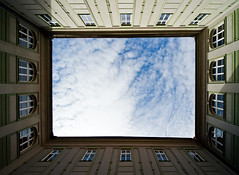 Sky Window (Philipp Klinger Photography) Tags: blue windows roof light shadow sky reflection castle window glass up lines clouds facade point nikon europa europe republic view czech prague geometry prag praha tschechien hradschin frame philipp rectangle mala hradcany burg upwards hradany republika strana msto mal klinger hlavn esk kleinseite tschechei of d700 vanagram