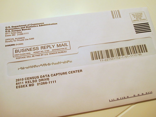 census form, ready to mail
