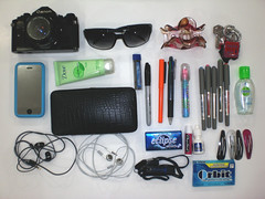 What's in my bag? [102:365] (theblackestwhite) Tags: sunglasses pencils canon gum bag keys whats your usb headphones a1 365 whatsinyourbag manual filmcamera pens lotion mints iphone eyedrops chapstick handsanitizer hairclip project365