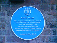 Photo of John Clark, Bank Mills, John Hives, and Moses Atkinson blue plaque