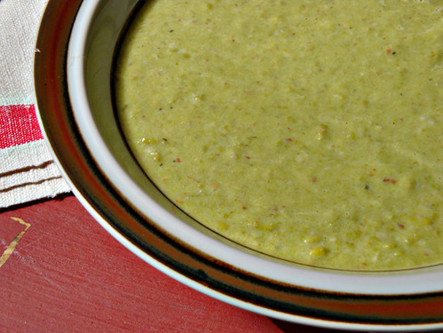 bacon, horseradish and pea soup