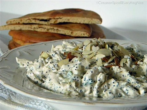 Home-made Pita Bread Stuffed with Poppy Seed Chicken Salad