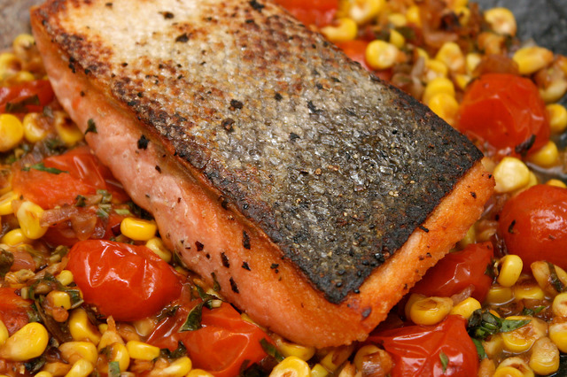Organic Salmon with Corn-Basil-Tomato Salsa