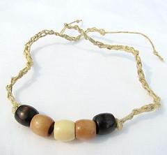 Wood and hemp bracelet or anklet - Summer Simplicity