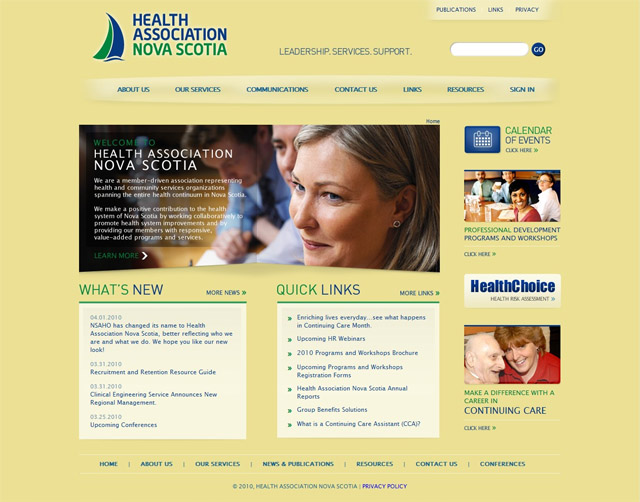 Página Principal do Site da Health Association Nova Scotia