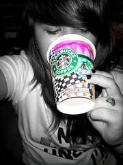 Starbucks coloursplash (gurlshots) Tags: colour cup coffee girl tattoo rainbow diamond starbucks colourful splash coloured edit
