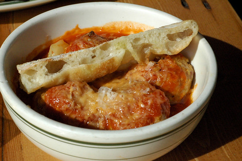 Spicy pork meatballs in tomato sauce