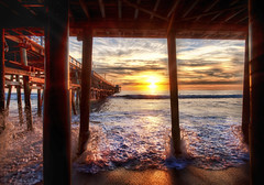 Under the Docks in California (Stuck in Customs) Tags: world ocean california wood travel sunset panorama orange usa sun west beach clouds digital america docks photography coast pier blog high dock sand san surf dynamic stuck natural pacific united tide horizon north under pillar january scenic calm walkway processing imaging states orangecounty sanclemente distance vanishing range plank hdr tutorial trey piles travelblog customs 2010 clemente ratcliff hdrtutorial stuckincustoms treyratcliff stuckincustomscom nikond3x