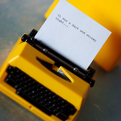 Writing the Great American Novel (123/365) (Renatta_R) Tags: macro typewriter yellow miniature explore novel rement arad canonef100mmmacro 16scale nataliesfrenchgoods