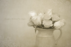 Happy Mother's Day (laughlinc) Tags: flowers roses stilllife texture sepia vase pitcher mothersday 50mm18 masterphotos nikond80 pareerica thechallengefactory wiobw laughlinc 4tografie