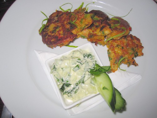 Spicy Onion & Chickpea Fritters with Cucumber and Mint Soy Yogurt Sauce