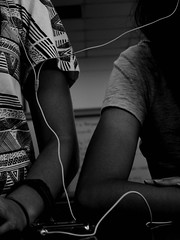 we're all connected (f'thang) Tags: friends blackandwhite technology ipod connected earphones fthang farisiathang
