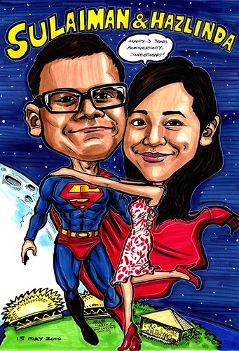 Couple caricatures Superman boyfriend A3