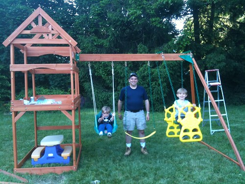 The Boys Enjoying their New Swingset with Daddy