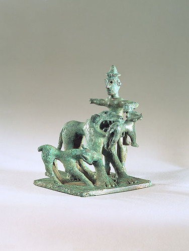 An Exceptional and Highly Important Greek (Laconian) Bronze Group with Shepherd on Solid Base