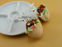 Falafel Earrings (Shay Aaron) Tags: food israel miniature telaviv salad mediterranean handmade jerusalem aaron middleeast fake mini jewelry vegetable arabic polymerclay fimo tiny faux shay junkfood  felafel geekery jewel petit pita         shayaaron wearablefood