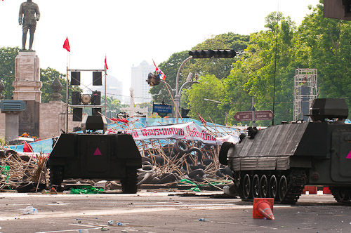 Tanks crossing the barricade into the protesters' camp, Bangkok