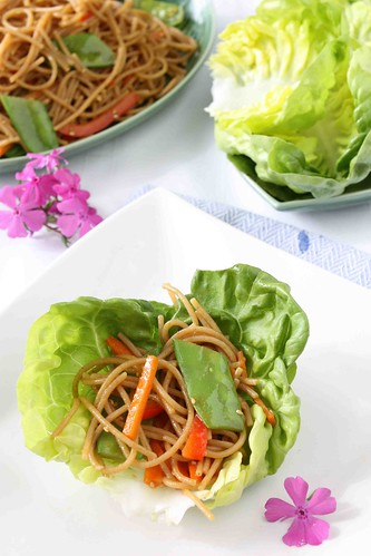 Soba Noodle & Vegetable Lettuce Wraps with Hoisin Chili Sauce Recipe