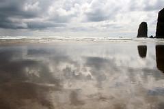 cannon beach (rottnapples) Tags: ocean desktop reflection beach oregon landscape coast pacific calm pacificocean shore coastline cannonbeach