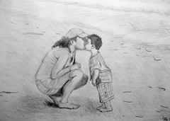 Mother and Child (Disney Fanatic) Tags: art love beach hat pencil children sketch kiss child drawing mother motherandchild pencilsketch betourney mikebetourney