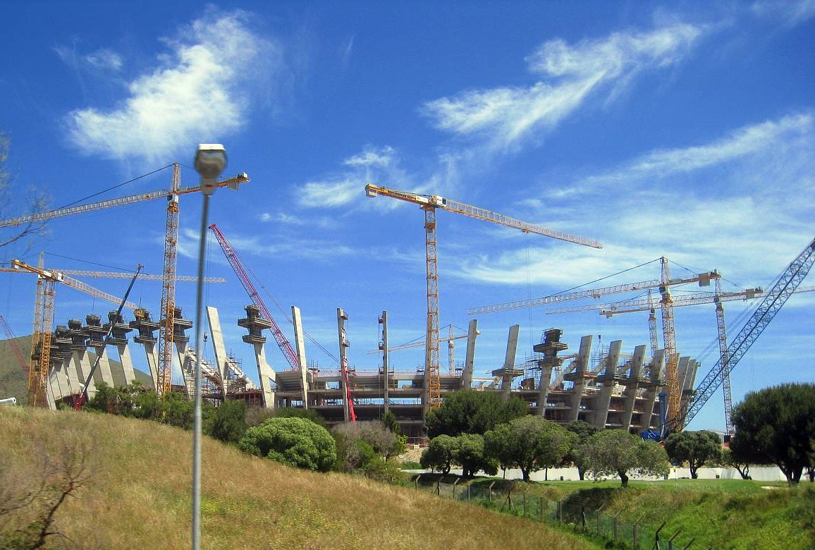 Under construction: Cape Town's new soccer stadium for the World Cup as of October 2008.