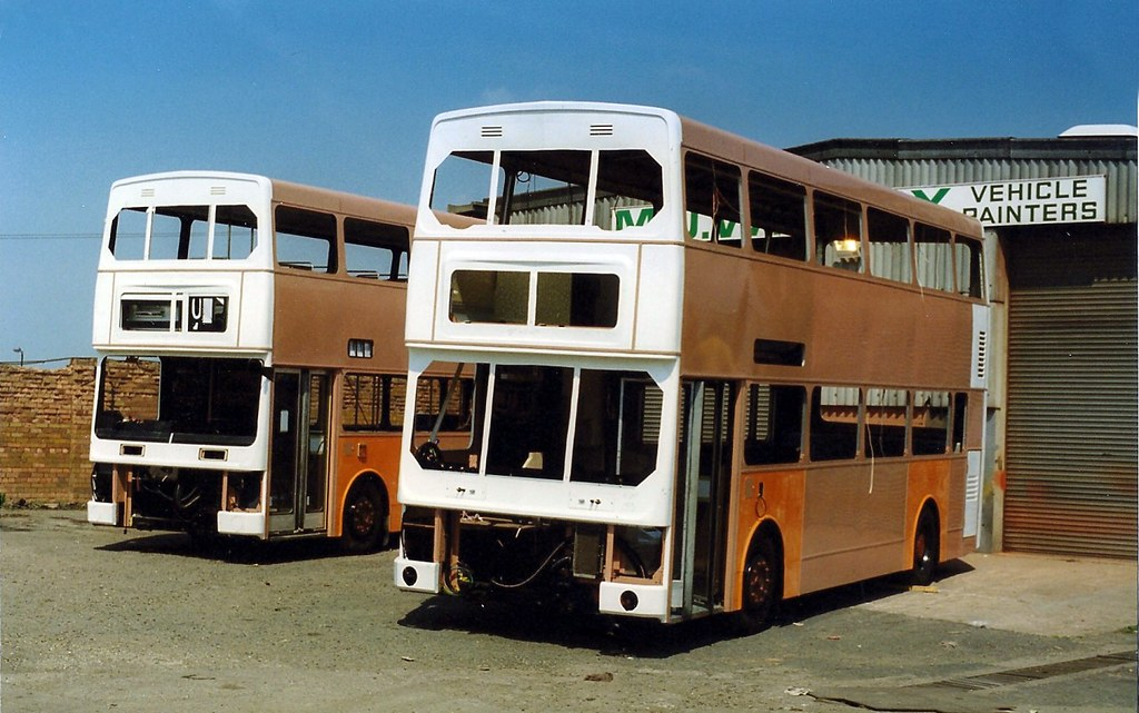 In build Metrobuses - at Brownhills, Walsall 1989