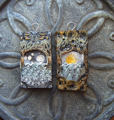 Pendants - Chasing the Moon or the Sun (gabriel studios) Tags: sun moon texture water carved waves jewelry polymerclay clay etsy pendant pendants polymer gabrielstudios