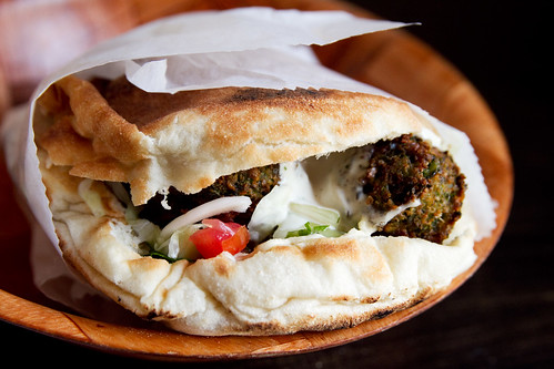 green falafel sandwich