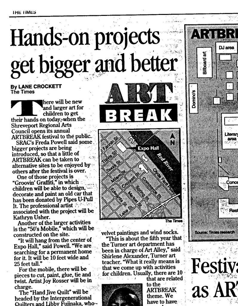 Professional Artist Kathryn Usher Artbreak 1996 The Shreveport Times Sunday May 5, 1996