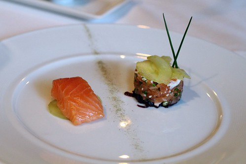 poached salmon and smoked salmon