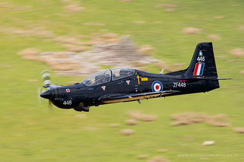 Tucano Low Flying Aircraft in the Mach Loop in Wales