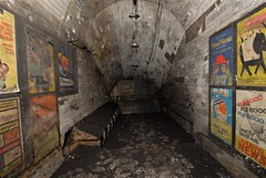 Disused passageway with vintage 1959 posters, Notting Hill Gate tube station, London, 2010 (mikeyashworth) Tags: london poster 1950s