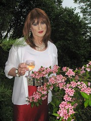 29 - Red head in pink flower garden (Julie Bracken) Tags: old portrait fashion hair tv cd space crossdressing tgirl transgender mature tranny transvestite fourth pantyhose crossdresser crossdress tg trannie mtf travesti m2f tfs feminized enfemme xdresser tgurl feminised transsisters julieb85 thefourthspace