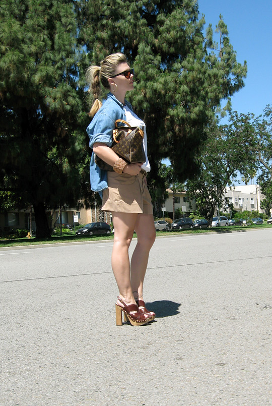 LA Forever T-shirt+Shorts+Denim Shirt+Miu Miu clog sandals+LV -2