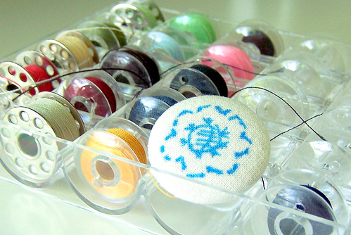 Hand drawn fabric covered button