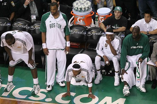 the celtics beating the lakers with their bench