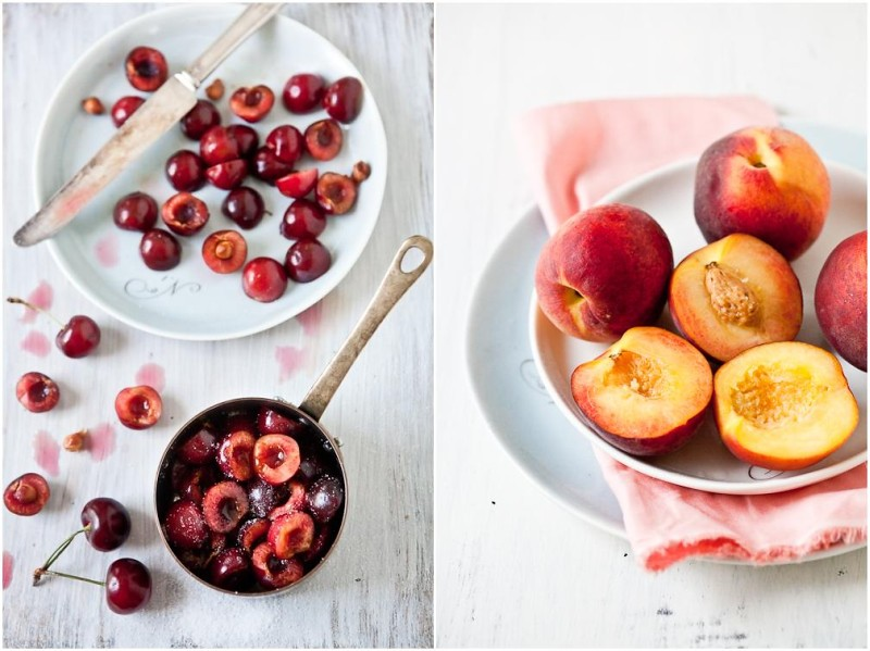 Poached Cherries & Grilled Peaches