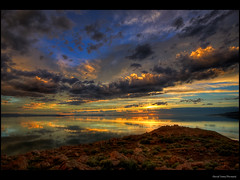 Antelope Island Sunset HDR (Fresnatic) Tags: clouds utah skies sunsets antelopeisland saltlakecity greatsaltlake hdr cloudscapes buffalopoint photomatix lightroom2 concordians perfectsunsetssunrisesandskys hdraddicted canonrebelxsi fresnatic antelopeislandbeach