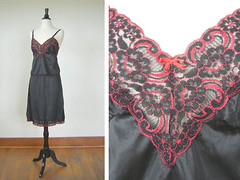 Vintage Slip & Camisole Set (Fancy Lucky Vintage) Tags: red black fashion set vintage clothing lace lingerie slip etsy camisole fancyluckyvintage