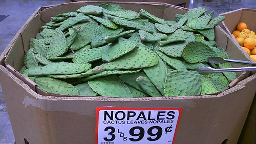 Nopales (cactus) in the grocery store