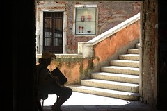 Music for the mood (harinibarath) Tags: street bridge venice red music accordianplayer