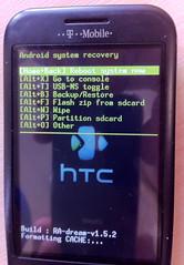 Custom recovery image menu